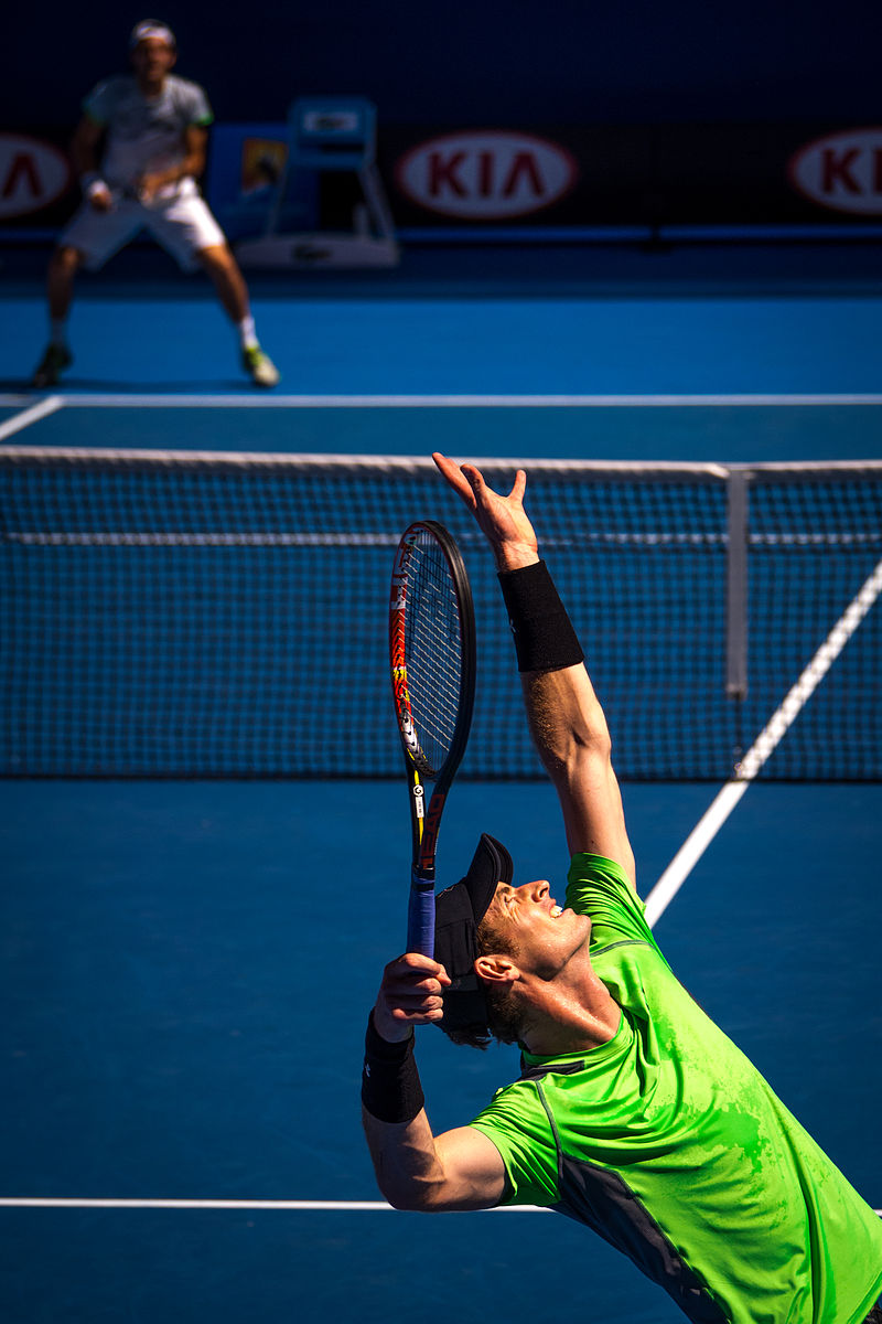 Andy Murray at the 2015 Australian Open. Photograph by Brendan Dennis.