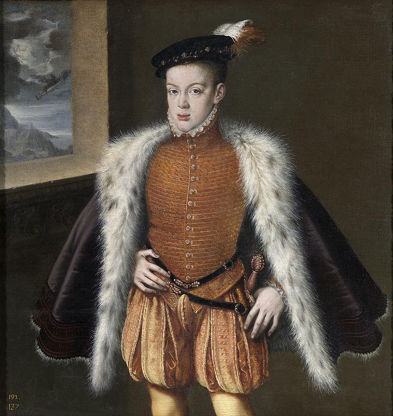 Prince Don Carlos of Austria, son of Philip II of Spain. Portrait by Alonso Sánchez Coello, circa 1558, oil on canvas, Museo del Prado