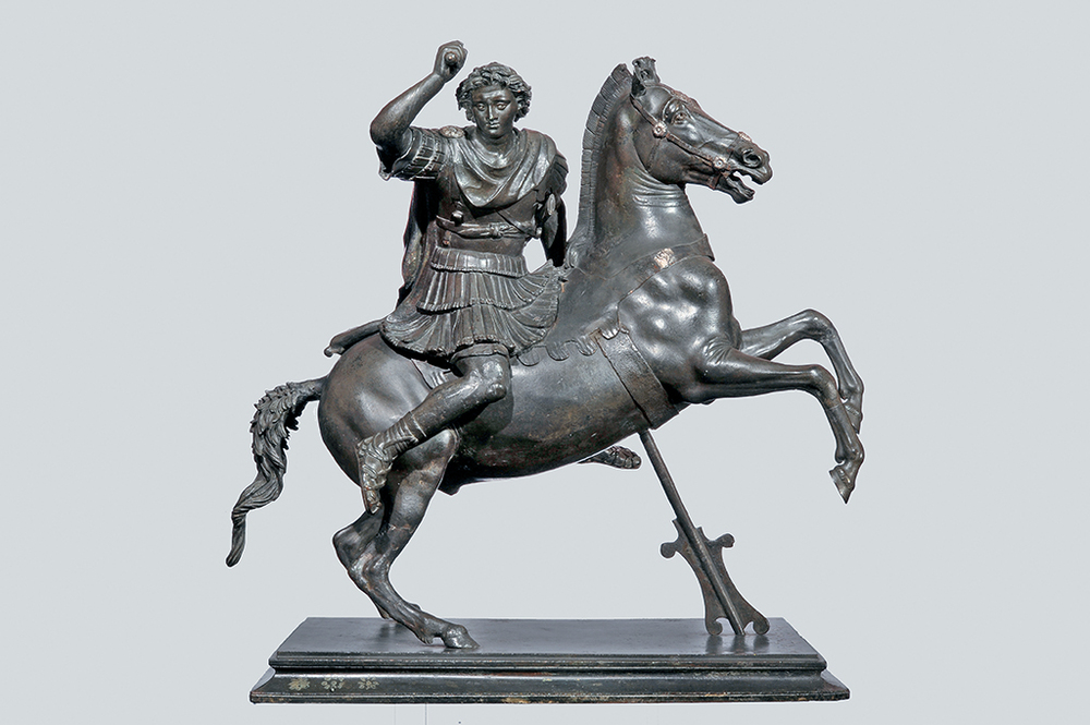 """Alexander the Great on Horseback"" (first century B.C., bronze with silver inlays). Courtesy the J. Paul Getty Museum"