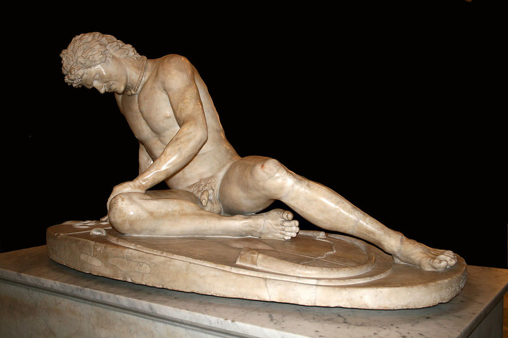 """""""The Dying Gaul,"""" a Roman marble copy of a Hellenisticwork of the late 3rd century B.C.Capitoline Museums, Rome."""