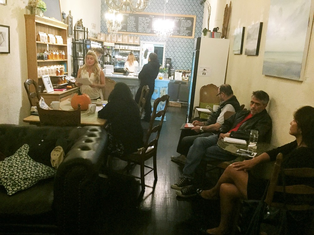 The For the Love of Words group reading at R Patisserie Café & Tea Boutique in New Rochelle, N.Y.