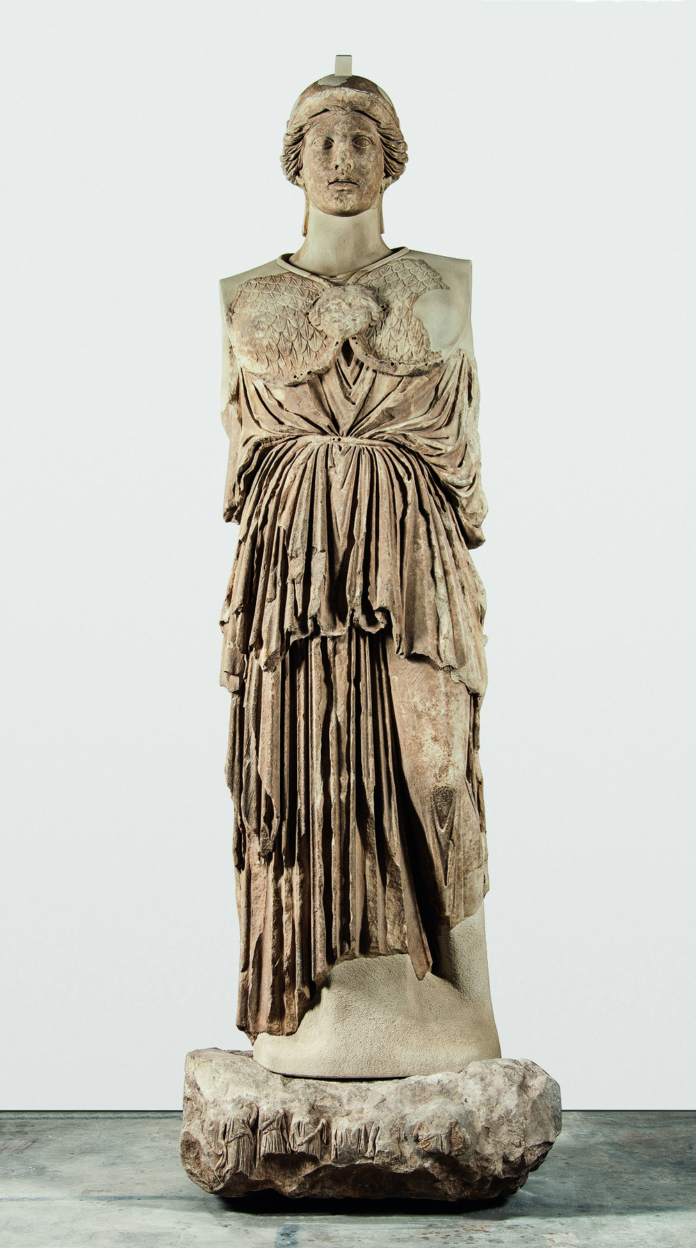 """Statue of Athena Parthenos,"" Greek, Hellenistic period, circa 170 B.C., copy of a mid-5th century chryselephantine cult statue of ""Athena Parthenos"" by Pheidias, marble, Antikensammlung, Staatliche Museen zu Berlin. Image copyright SMB/Antikensammlung."