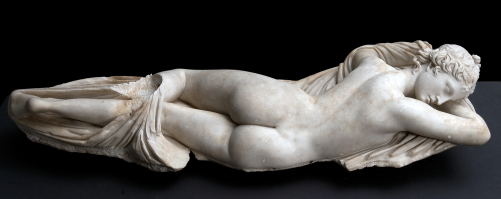 """""""Sleeping Hermaphrodite,"""" Roman, first half of the 2nd century, copy of a Greek original of the 2nd century B.C., marble, Palazzo Massimo alle Terme, Rome."""