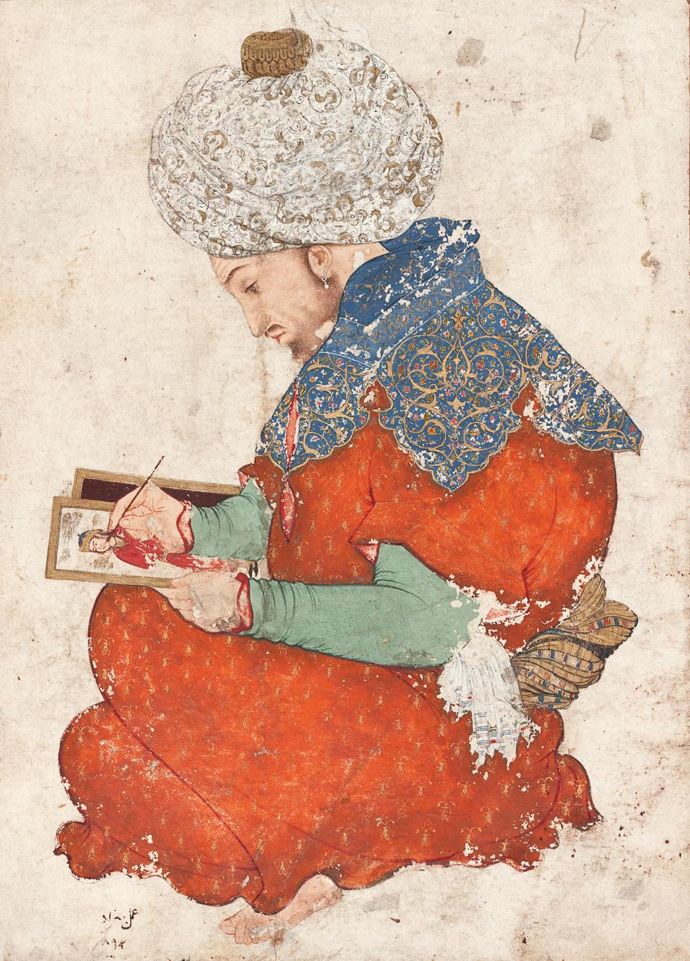 Portrait of an artist, Iran or Mughal India, late sixteenth century CE Cat. 35 (LNS 57 MS) © The al-Sabah Collection, Dar al-Athar al-Islamiyyah, Kuwait
