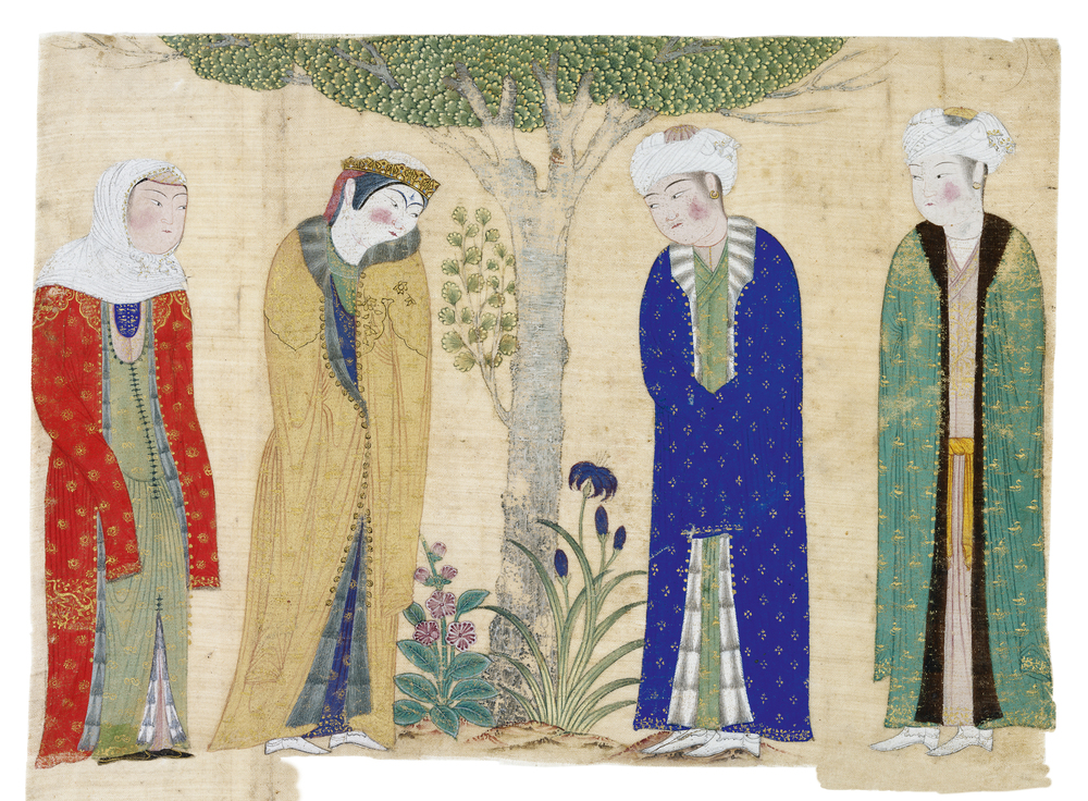 Tabriz, Four Figures Beneath a Tree, second half of the 15th century.Watercolor and gold pigment on silk.Cat. 16  © The al-Sabah Collection, Dar al-Athar al-Islamiyyah, Kuwait