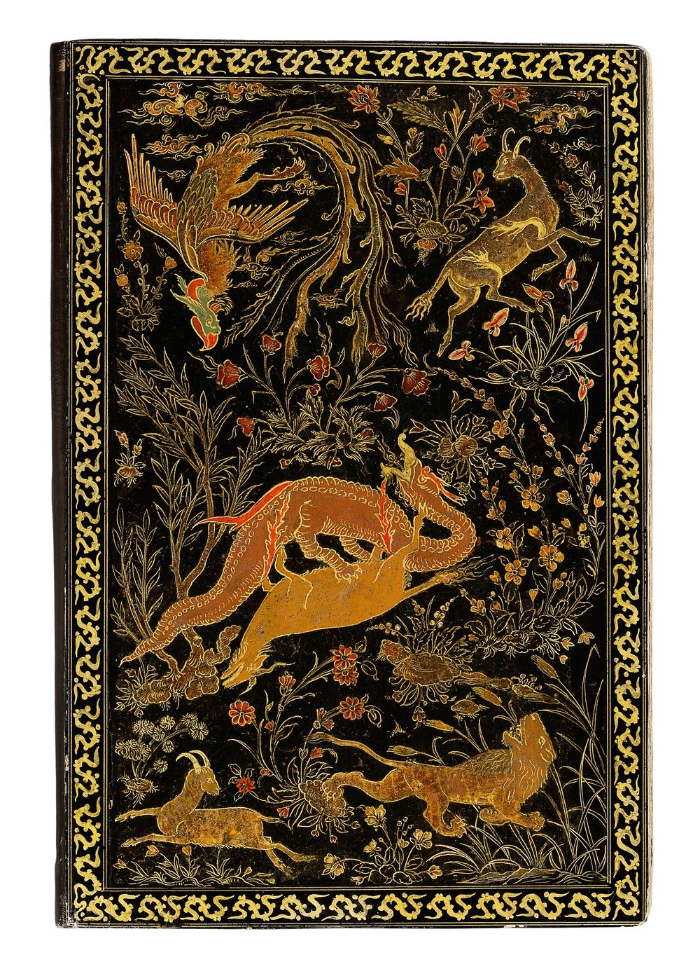 Back cover of binding painted with scenes of animals, real and mythical, some engaged in combat, in a landscape, from the manuscript of the Golestan (The Rose Garden) of Sa'di, c. 1580 CE.Folio Cat. 30  © The al-Sabah Collection, Dar al-Athar al-Islamiyyah, Kuwait