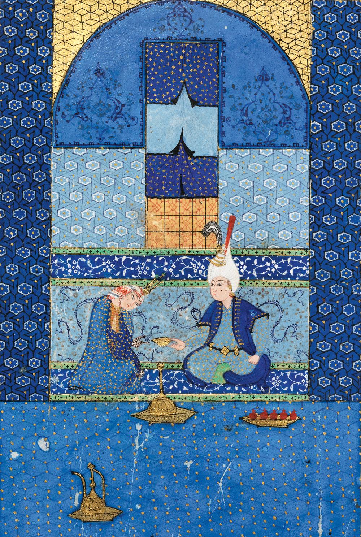 Bahram Gur in the Turquoise Pavilion, from the manuscript of the Khamsah of Nizami, Safavid period.Cat. 24 (LNS 4 MS), f.209v (detail)  © The al-Sabah Collection, Dar al-Athar al-Islamiyyah, Kuwait