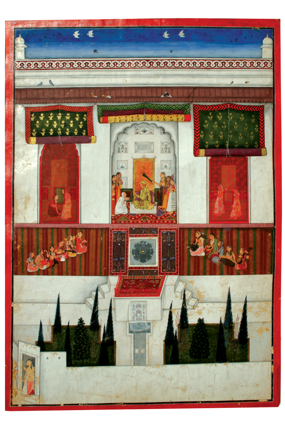 King Kasma in His Inner Apartment , c. 1650.Folio from a dispersed Bhagavata Purana series. Pahari.Opaque watercolor and gold on paper, 49.5 cm x 33 cm (19.4 in x 12.9 in). Private Collection