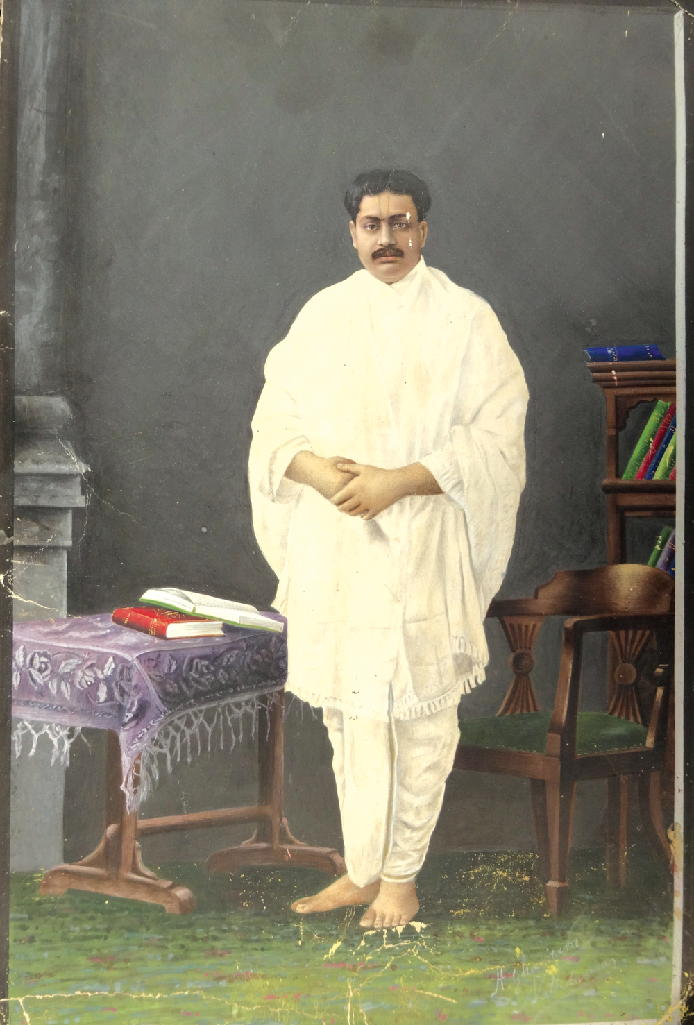 Ghasiram,  Portrait of Priestly Figure , c. 1910.Isolated folio. Rajasthan, from Nathdwara.Opaque watercolor on paper, 24 cm x 17 cm (9.4 in x 6.6 in). Private Collection