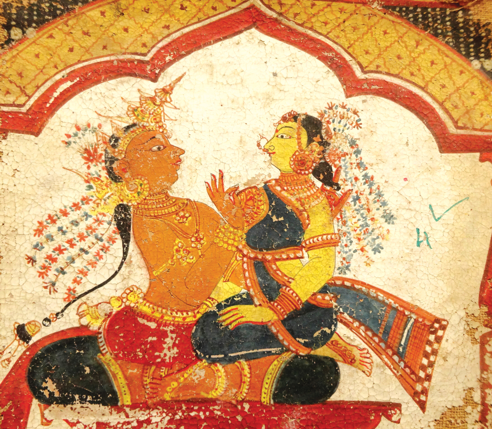 Two Lovers , mid-nineteenth century. Folio from a Ragamala album. Orissa. Pigments on cloth, 16 cm x 12 cm (6.2 in x 4.7 in). Private Collection