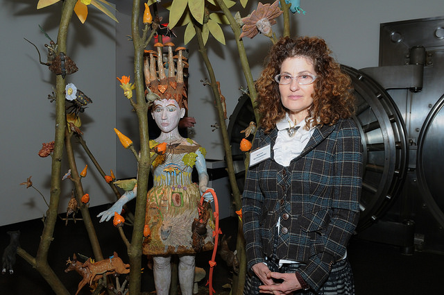 """""""Nature of the Beast"""" with artist Kathy Ruttenberg. Opening reception. Credit:Leslye Smith."""