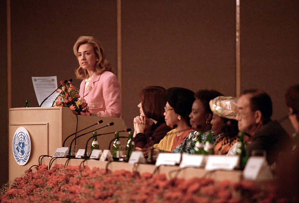 """Hillary Clinton delivering a speech to the United Nations Fourth World Congress in Beijing in 1995, in which she famously said, """"human rights are women's rights, and women's rights are human rights."""" Photo credit: Sharon Farmer/The White House."""