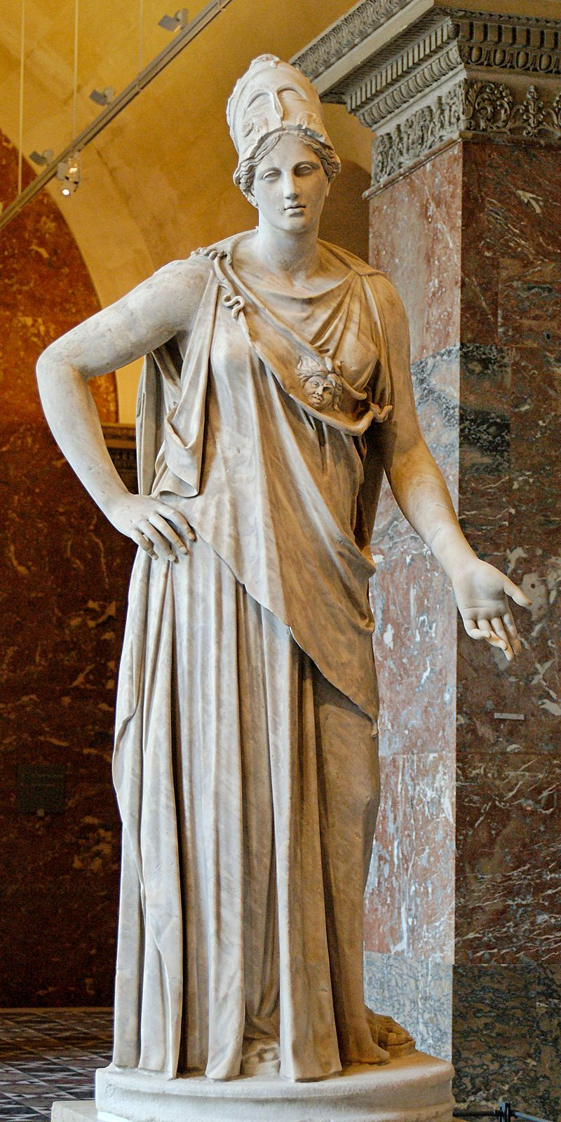 "The ""Mattei Athena,"" a first century B.C./A.D. Roman marble copy of a fourth century B.C. Greek work attributed to Cephisodotos or Euphranor. Musée du Louvre."