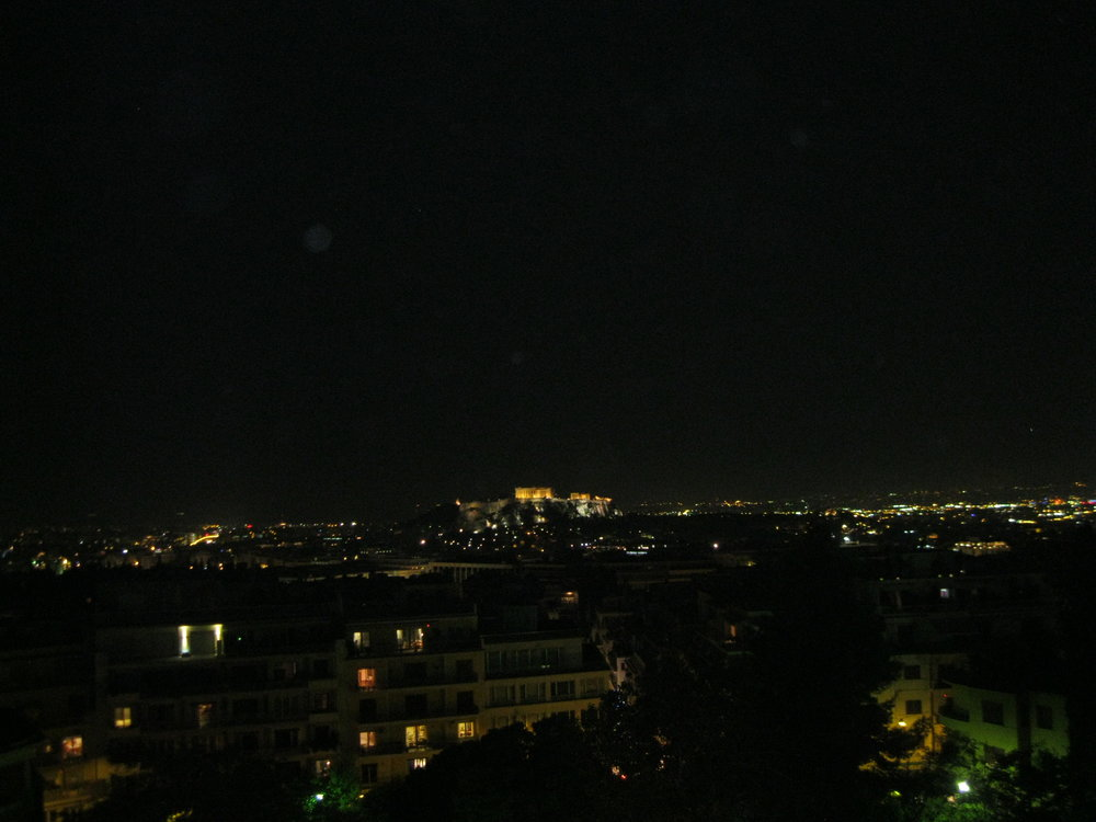 The Acropolis at night seen in the gleaming distance from the balcony of my room at the St. George Lycabettus Boutique Hotel. I'd sit out at night just gazing at it, scribbling and listening to the sounds of the café below – a most Hemingway moment.