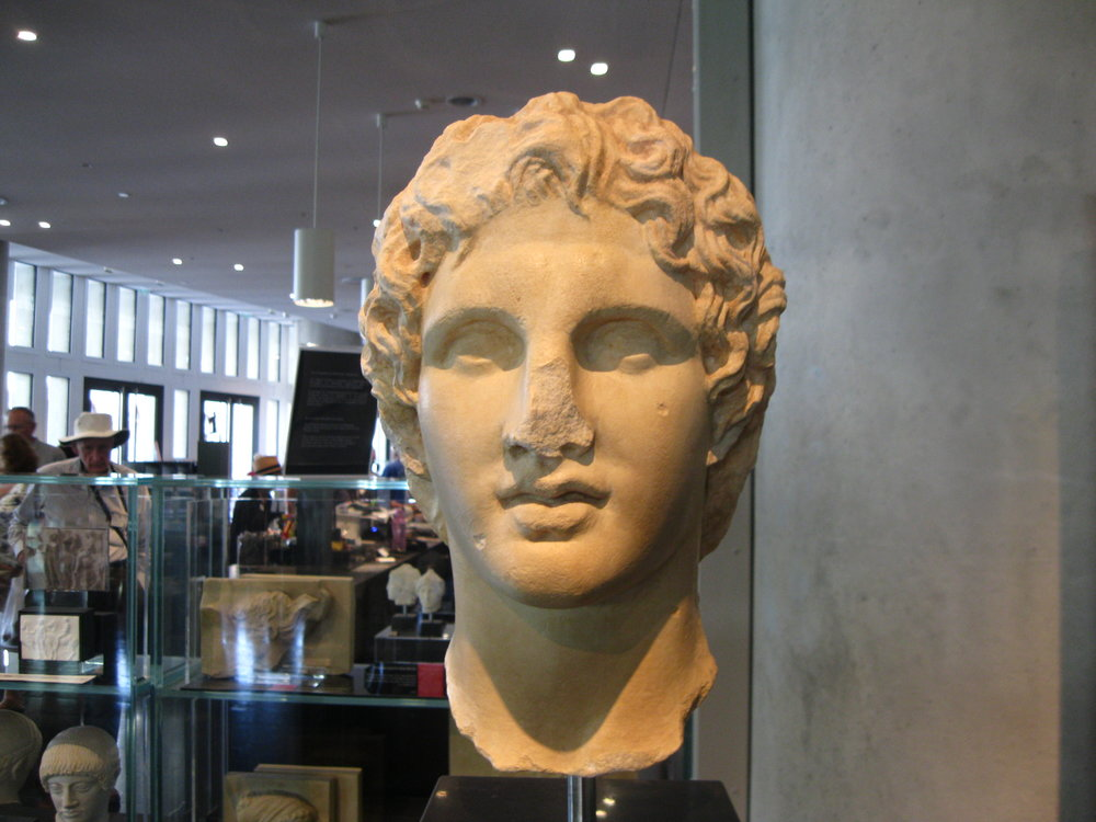 This gift shop Alexander is a good copy of the one that has pride of place in the Acropolis Museum. Note the smiling attempt to classicize his striking, yearning features.
