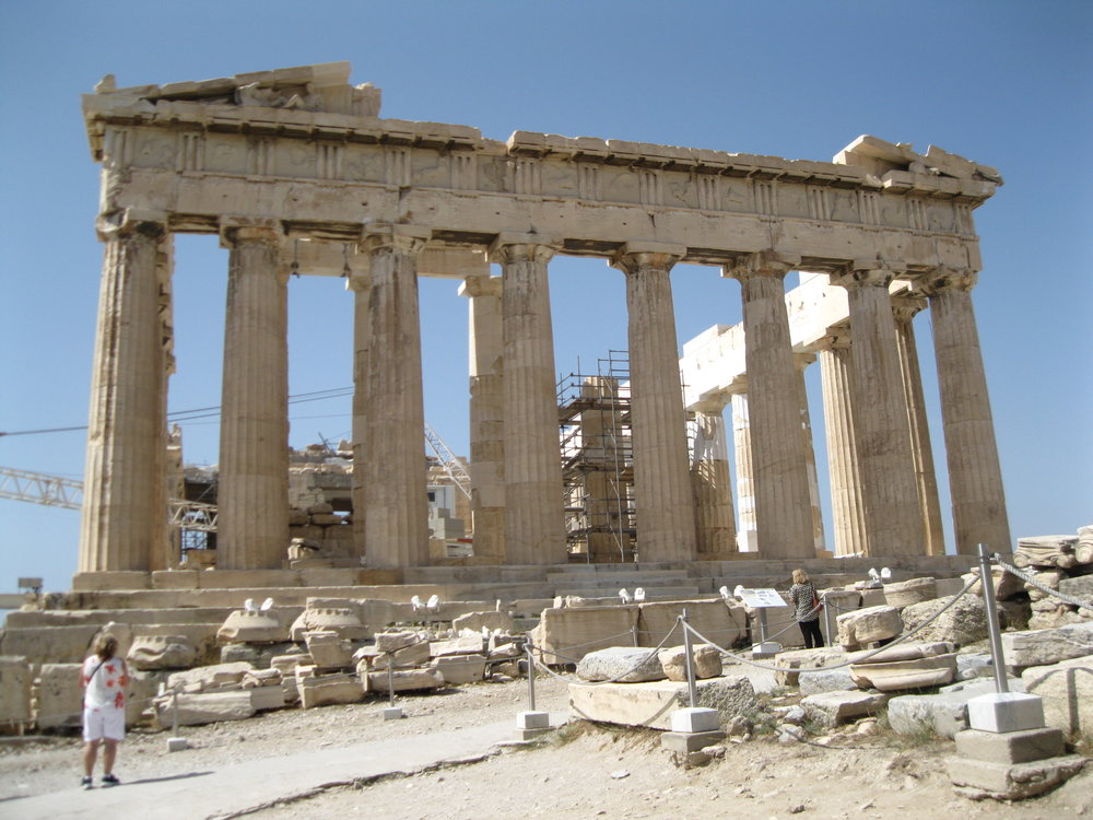 After along, hot, tricky climb, we made it to the Parthenon at last, temple of Athens' protector, the goddess Athena.
