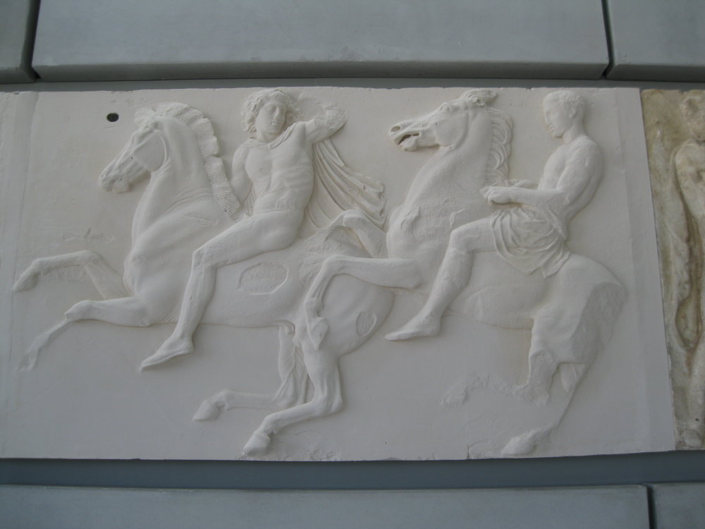 This frieze from the Parthenon, now in the Acropolis Museum, is actually a plaster copy as many of the originals are part of the Elgin Marbles in the British Museum. It shows, however, the importance of the hunt and mythology to the people of Athens.