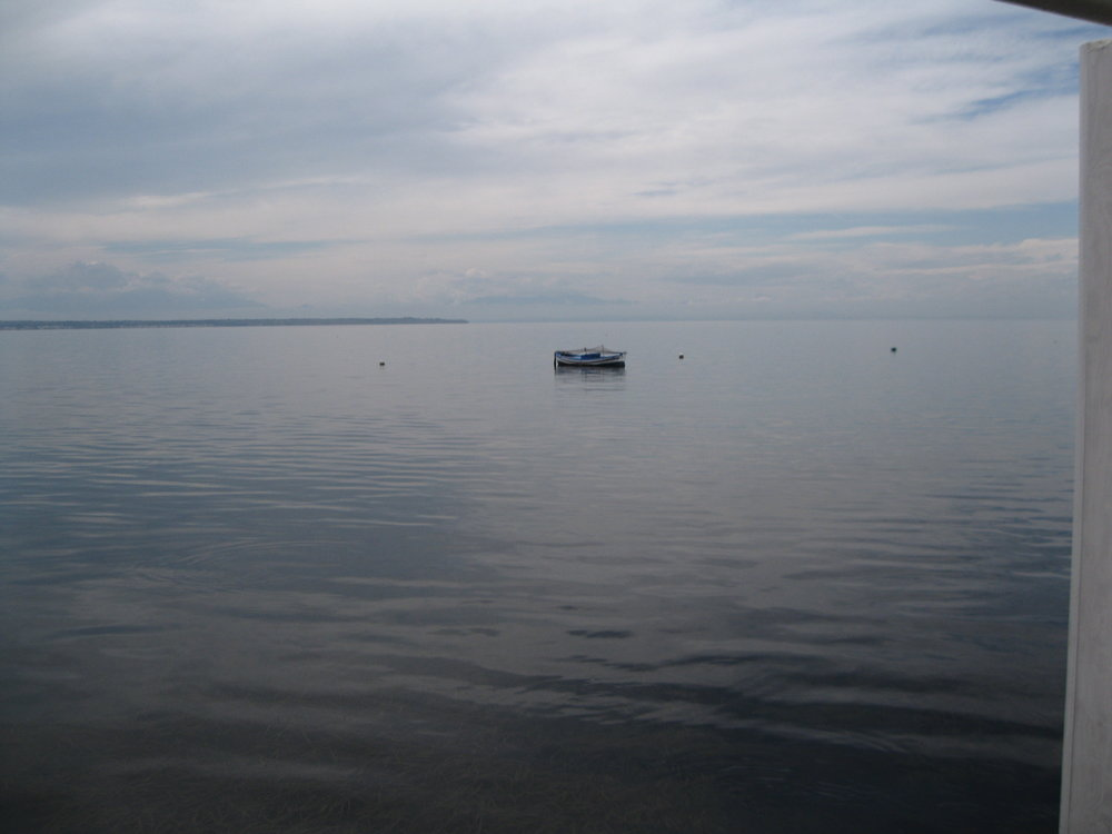 One of our first sightings of Thessaloniki and the Thermaic Gulf. Photograph by Georgette Gouveia.
