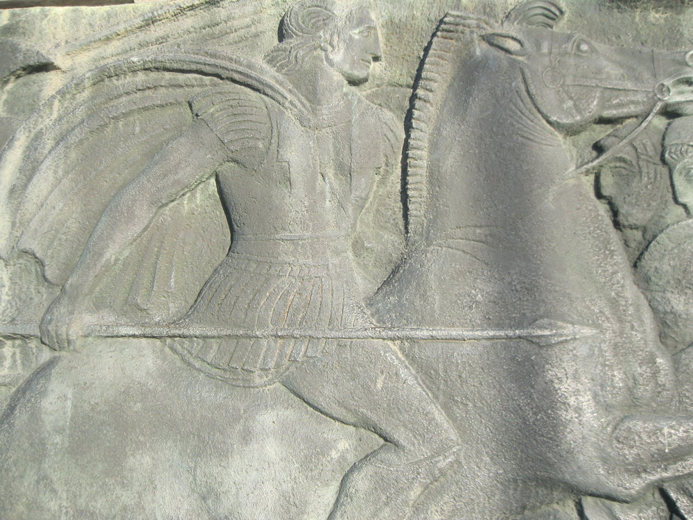 A relief of Alexander the Great aboard Bucephalus at the Alexander the Great memorial in Thessaloniki. Photograph by Georgette Gouveia.
