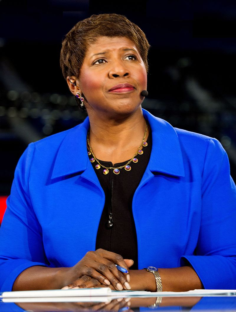"Gwen Ifill on ""The PBS  NewsHour"" in 2012. Rest in peace."