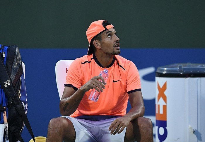 Nick Kyrgios of Australia complains to the referee during his men's singles match against Mischa Zverev of Germany at the Shanghai Masters tennis tournament on Wednesday. Johannes Eisele /AFP/Getty Images. Image  here .