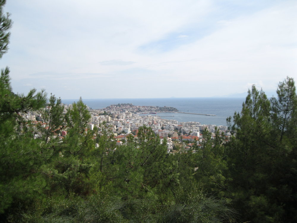 Looking down on Kavala and the Mediterranean