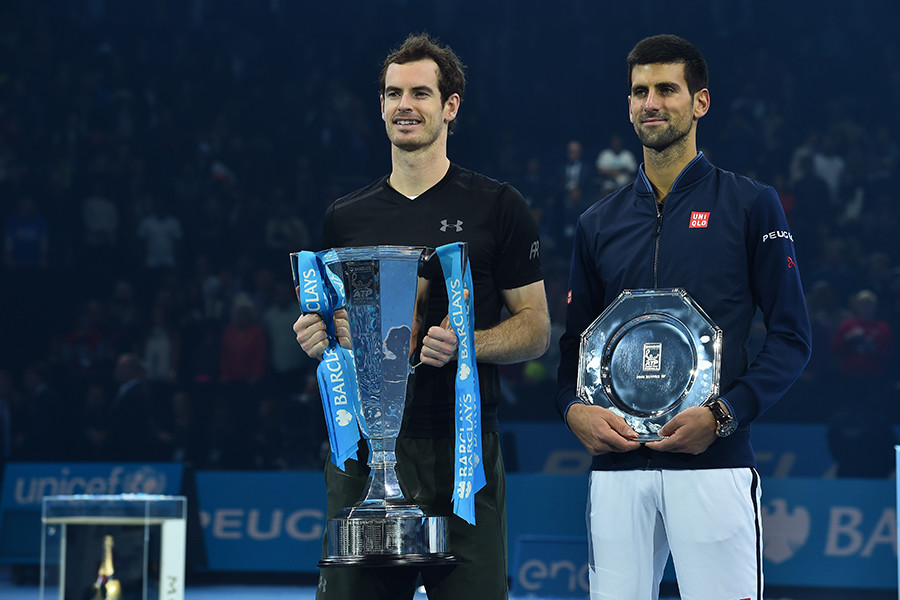 Podium standings at last Sunday's ATP Barclays World Tour Finals. Image  here © Glyn Kirk / AFP