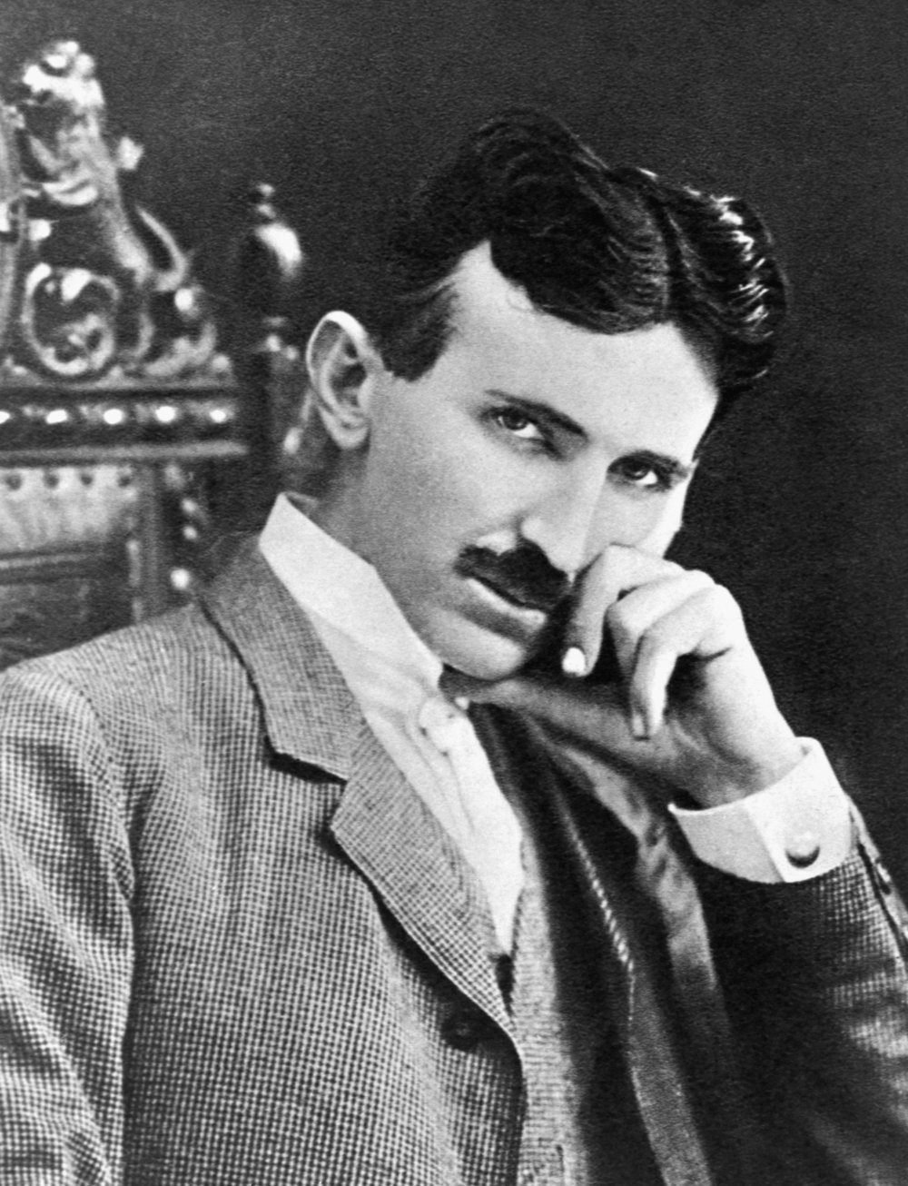 Inventor Nikola Tesla at age 40 in 1896, around the height of his career.