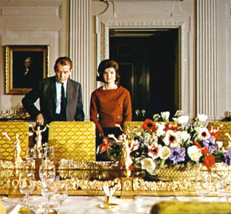 """Jacqueline Kennedy with Charles Collingwood during the televised tour of the restored White House, Feb. 14, 1962. The tour is a touchstone in the new film """"Jackie."""" Courtesy U.S. State Department."""