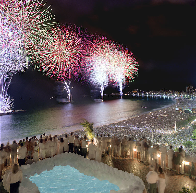 New Year's fireworks on Copacabana Beach, Rio de Janiero. The year 2016 and its Olympics were a mixed bag for Rio. Courtesy Porto Bay Hotels & Resorts.