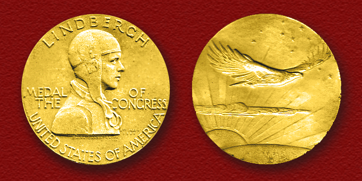 Charles A. Lindbergh – on the Congressional Gold Medal he received in 1930 from President Herbert Hoover – was a member of the America First Committee opposing World War II. He would later fly 50 combat missions in the Pacific.