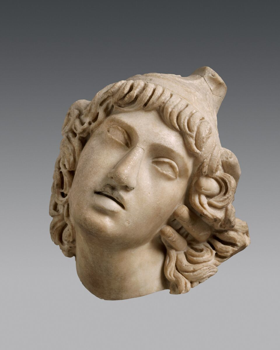 "Head of Penthesileia on view in the Onassis Cultural Center New York's ""A World of Emotions."""