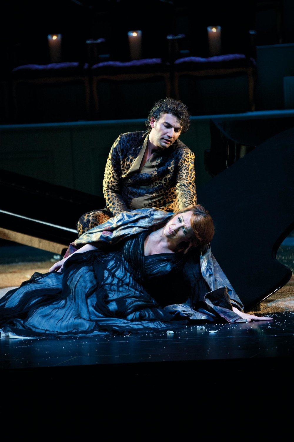 "Emily Magee as Ariadne and Jonas Kaufmann as Dionysus (Bacchus) in the Salzburg Festival's 2012 production of Richard Strauss' ""Ariadne auf Naxos."""