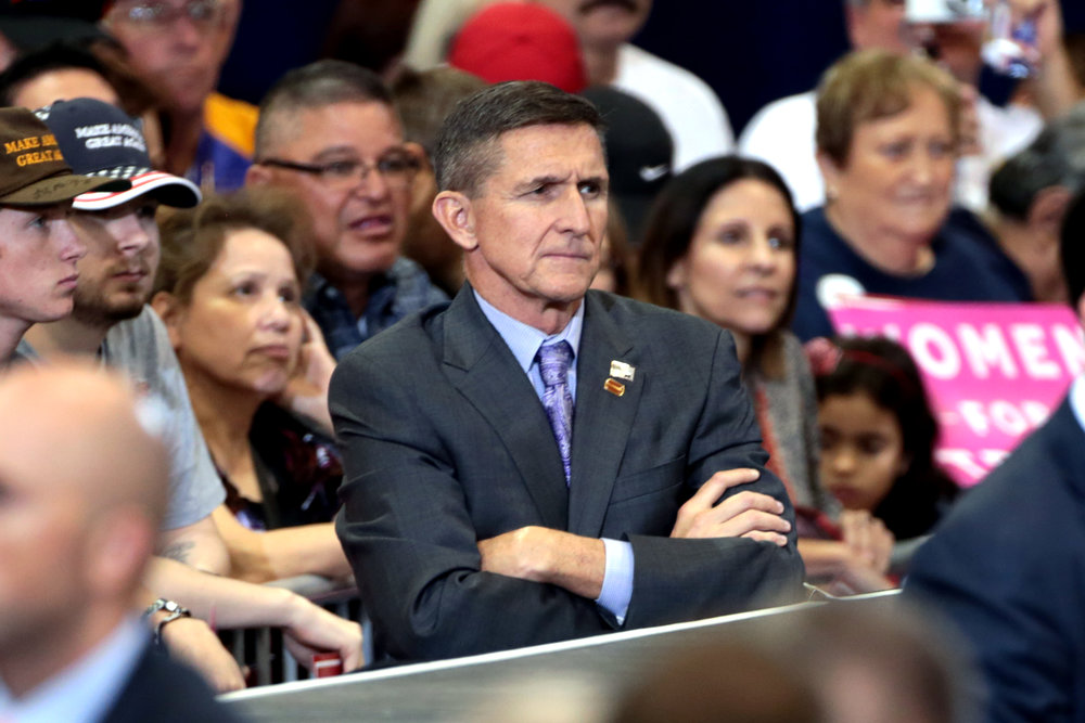 Former Gen. Michael Flynn, seen here at a 2016 Trump rally in Phoenix, is on the hot seat again. Photograph by Gage Skidmore.