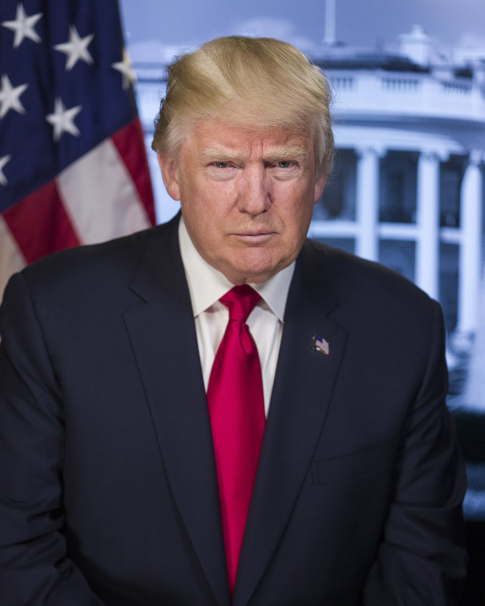 President Donald J. Trump's official White House photographic portrait by Doug Coulter.
