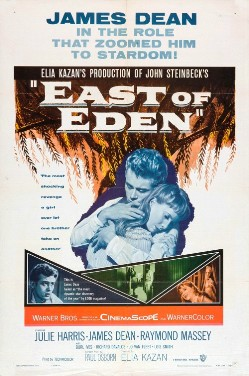 """Poster for the 1954 film of """"East of Eden,"""" which made James Dean a star."""