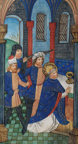A medieval Book of Hours (circa 1390), probably written for the De Grey family of Ruthin, depicting Thomas Becket's murder in Canterbury Cathedral.