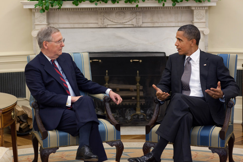 Sen. Mitch McConnell and President Barack Obama at the White House August 2010. Courtesy Executive Office of the President of the United States.