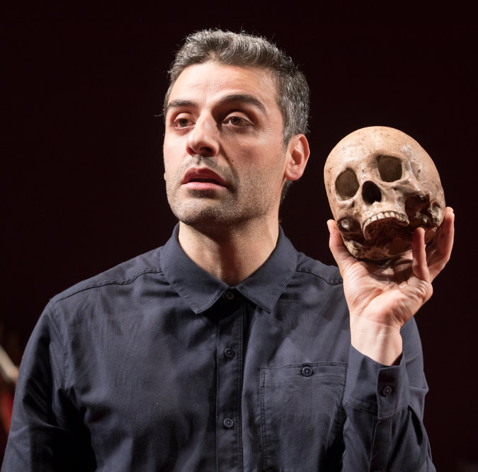 """Oscar Isaac in character in """"Hamlet"""" at the Public.CreditSara Krulwich/The New York Times. Image  here ."""