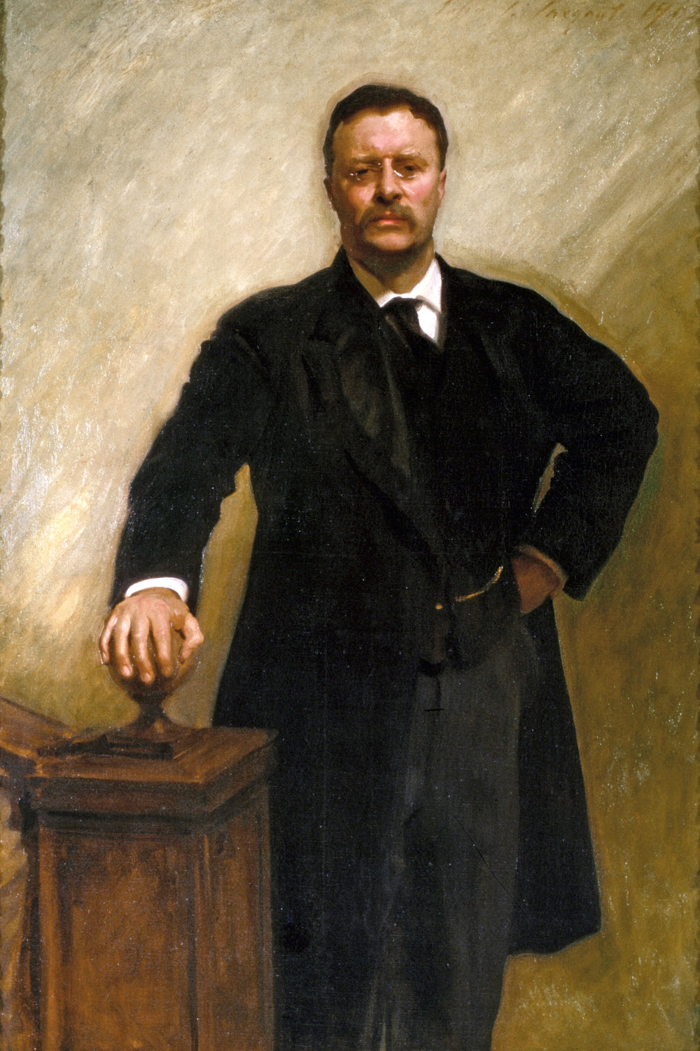 "Whatever happened to Theodore Roosevelt's ""Walk softly and carry a big stick""? Portrait of Roosevelt by John Singer Sargent, oil on canvas, 1903, the White House."