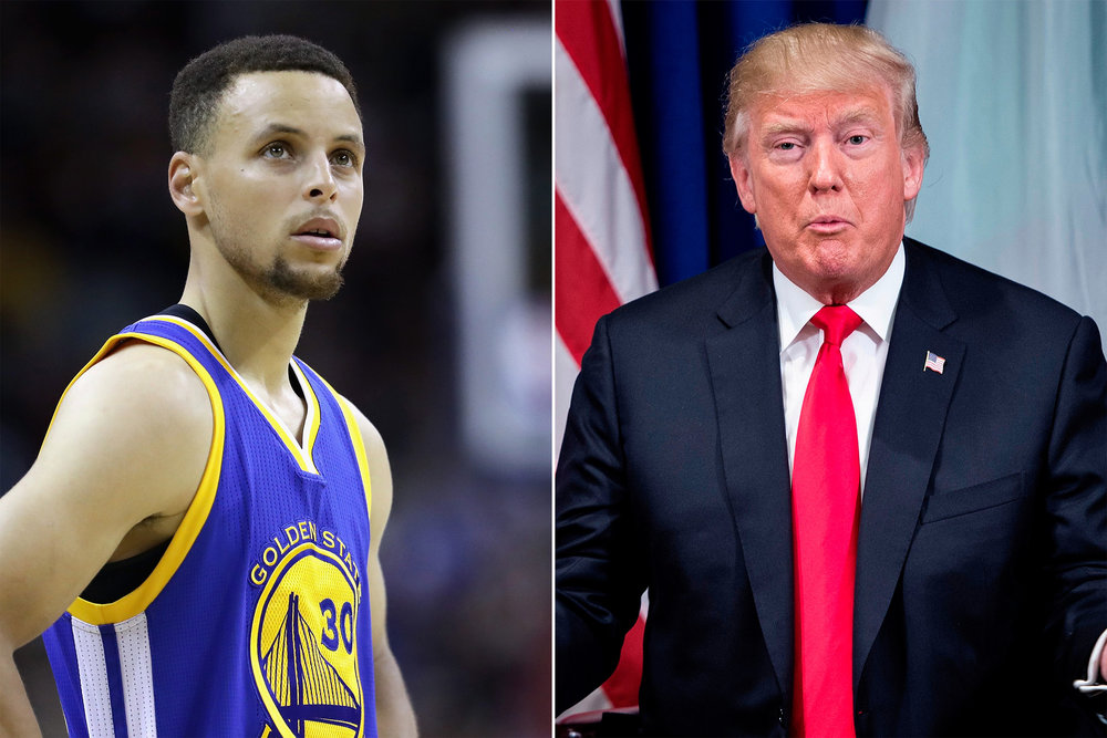 Stephen Curry finds himself cast as a central figure in another Trump tempest. Getty images  here .