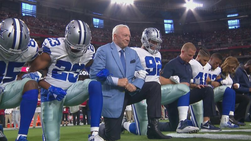 Jerry Jones and the Cowboys along with the Arizona Cardinals kneel before the National Anthem Monday night, then stand during it. Image  here .