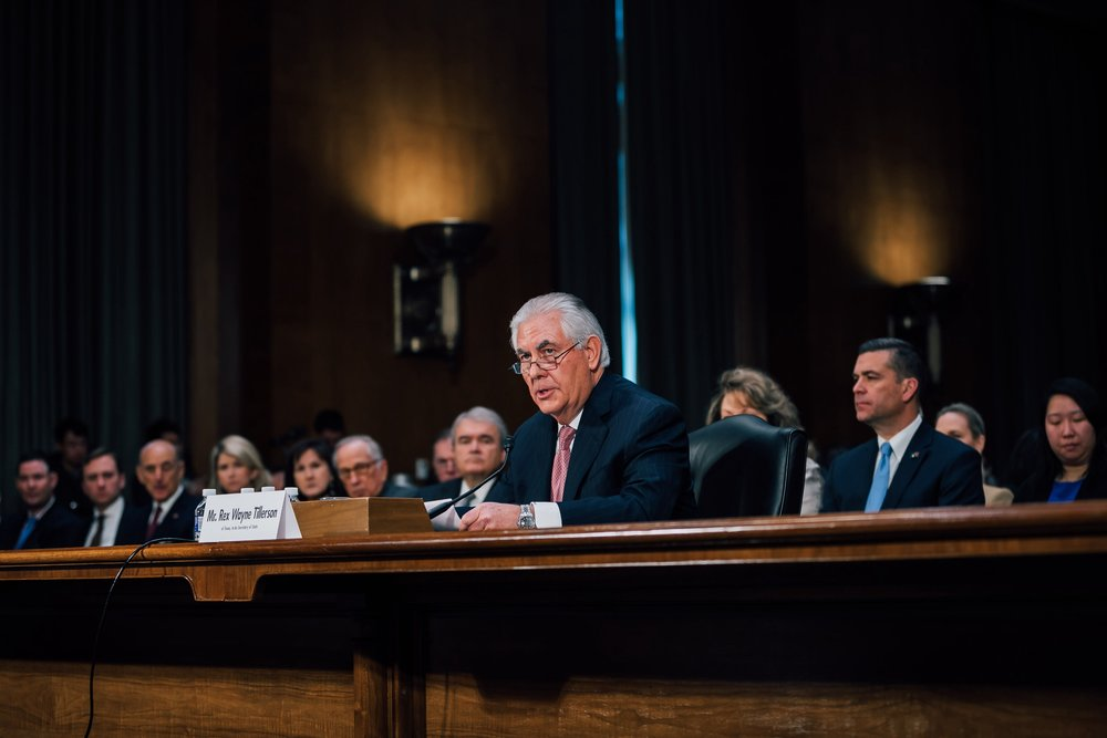 Secretary of State Rex Tillerson, seen at his Confirmation hearing Jan. 11, looks to be on the way out. Courtesy the Office of the then President-elect.