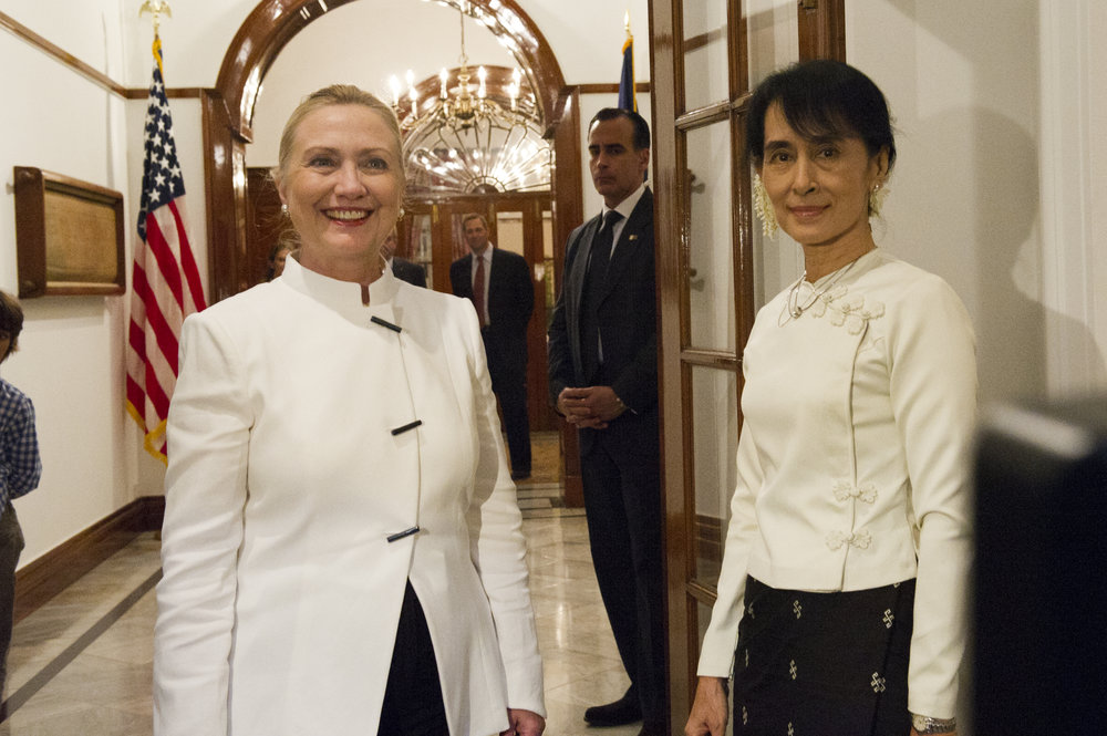 Then United States Secretary of State Hillary Clinton meets with Myanmar's pro-democracy leader Aung San Suu Kyi in 2011. Courtesy United States State Department