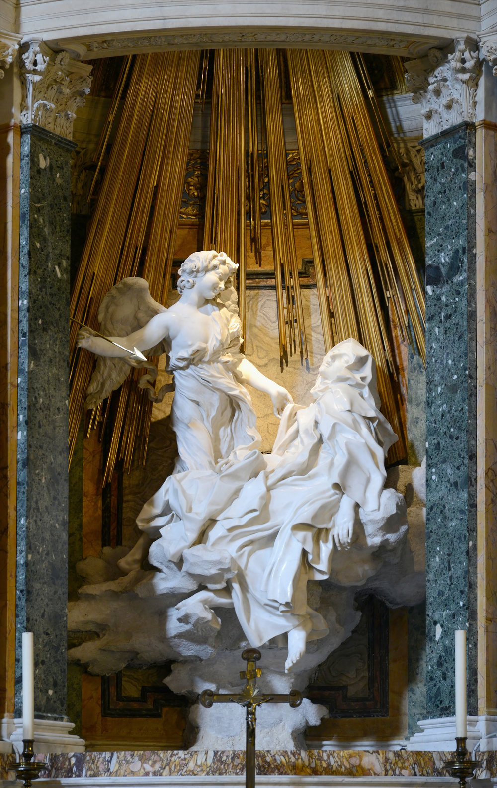 "Giancarlo Bernini's ""The Ecstasy of St. Theresa"" (1647-52), marble sculpture. Santa Maria della Vittoria, Rome."