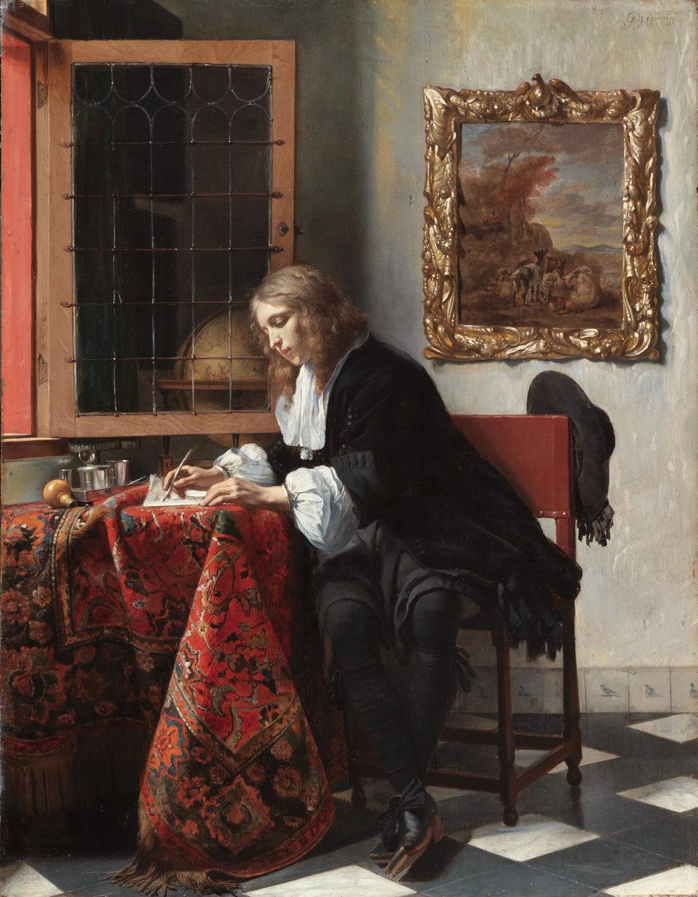 "Gabriël Metsu's ""Man Writing a Letter"" (1664-66), oil on panel. National Gallery of Ireland."