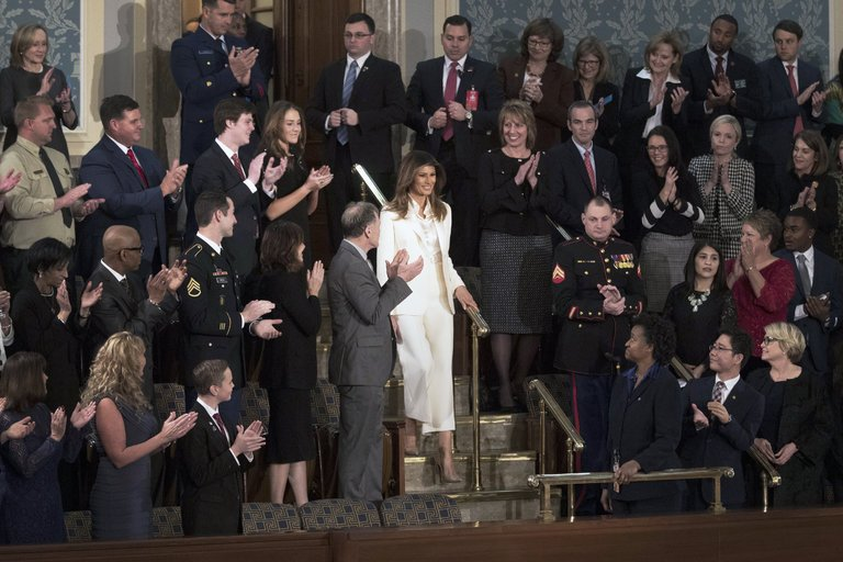 Melania Trump in suffragist white at the State of the Union. Image  here . Tom Brenner/The New York Times