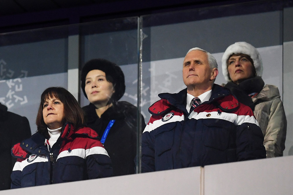 Vice President Mike Pence and his wife Karen during the Olympic Opening Ceremonies. Kim Yo-jong sits back left. Image  here .   Matthias Hangst—Getty Images