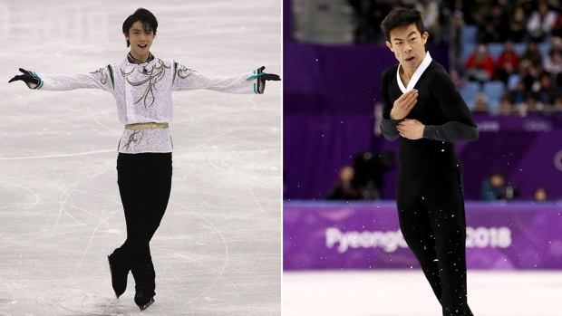 Two-time gold medal winner Yuzuru Hanyu (left) and American competitor who fell out of medal standing, Nathan Chen.