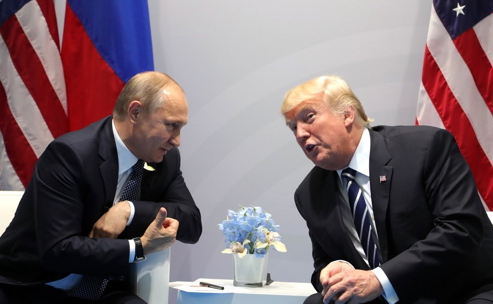 Presidents Vladimir Putin and Donald J. Trump at the G-20 Hamburg Summit, 7/7/17. Courtesy the Kremlin.